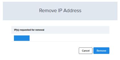 remove ip address progress