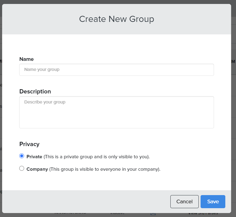 When saving the Group, user can set a name and a description