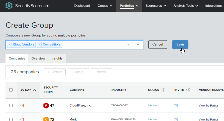 Multiple Portfolios can be included in a Group